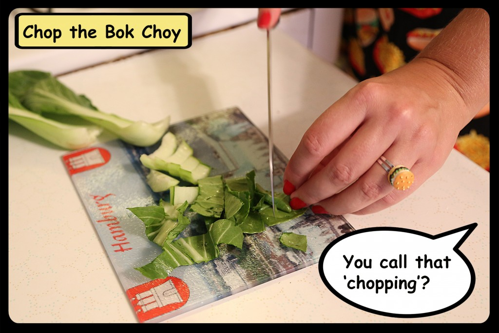 Chopping bok choy CU smaller
